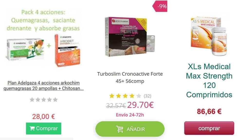 Algunos de los productos en distintas páginas web.