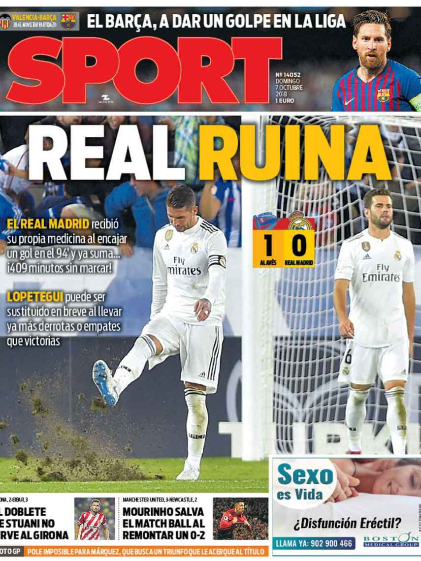 La portada del diario Sport (07/10/2018)