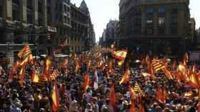 Manifestación del 8 de octubre de 2017, a su paso por la Vía Laietana de Barcelona.