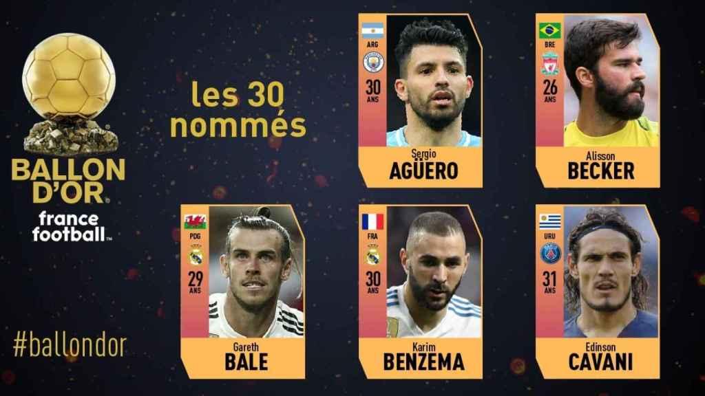 Bale y Benzema, nominados al Balón de Oro 2018