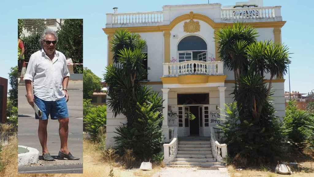 El último dueño del prostíbulo Don Ángelo y una imagen del edificio que lo albergaba, ahora ya en desuso.