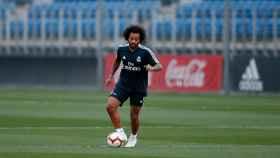 Marcelo entrenando con el Real Madrid