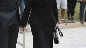 La reina Sofía llegando al tanatorio