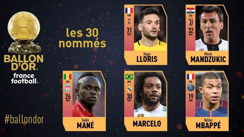 Candidatos al Balón de Oro 2018. Foto: France Football