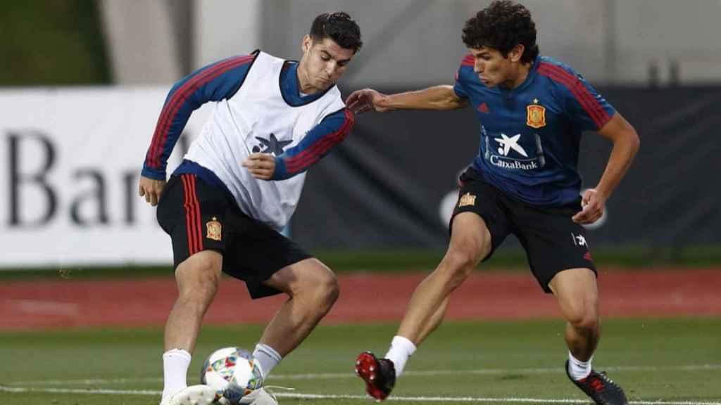 Vallejo y Morata, en un entrenamiento de la Selección. Foto: sefutbol.com