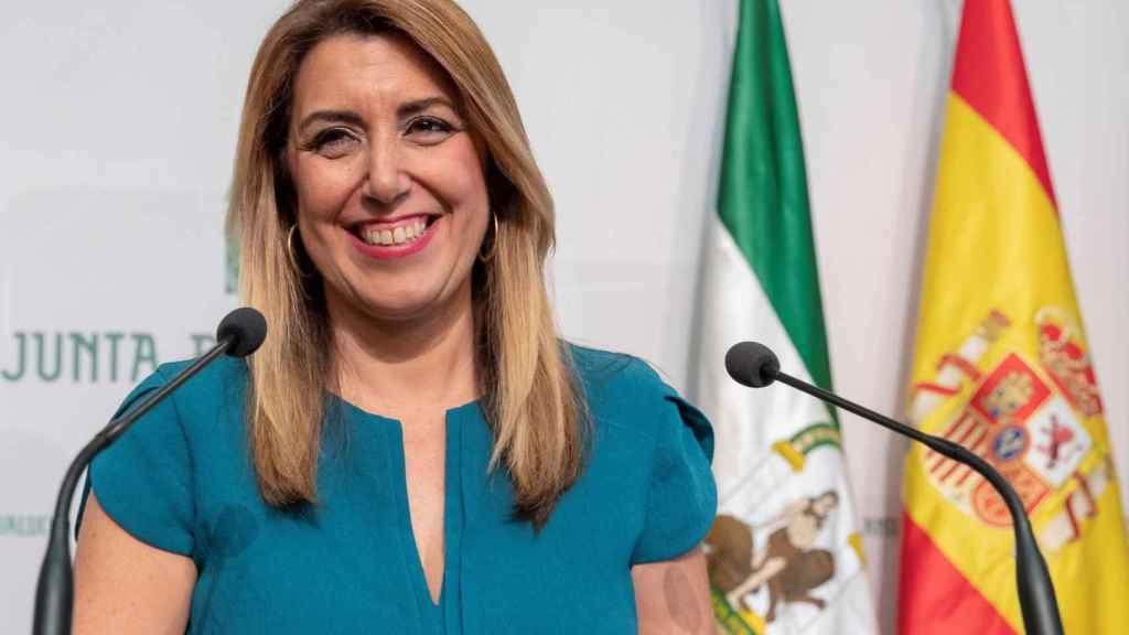Susana Díaz, en su comparecencia ante la prensa tras firmar la convocatoria de elecciones.