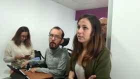 Pablo Echenique y Ione Belarra, en la sede de Podemos en Madrid.