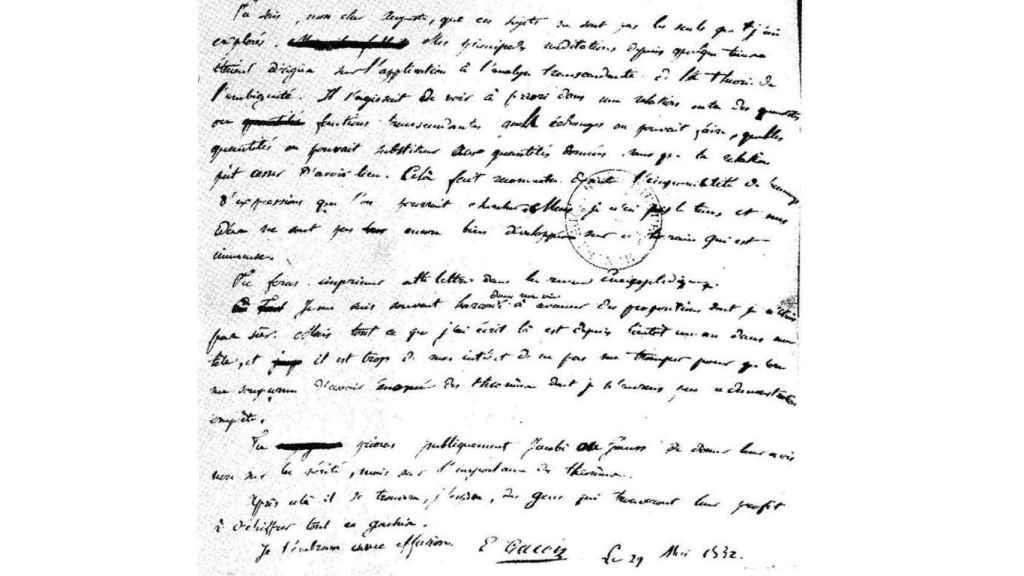 La última carta de Galois a su amigo Chevalier: Quizás alguien le saque partido a descifrar este embrollo