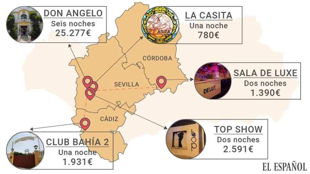 Mapa de los prostíbulos en los que altos cargos de la Junta se gastaron casi 32.000 euros con cargo a un fondo que debía servir ayuda a los parados.