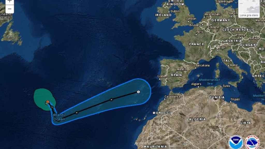 Previsión del desplazamiento de Leslie en dirección a España.