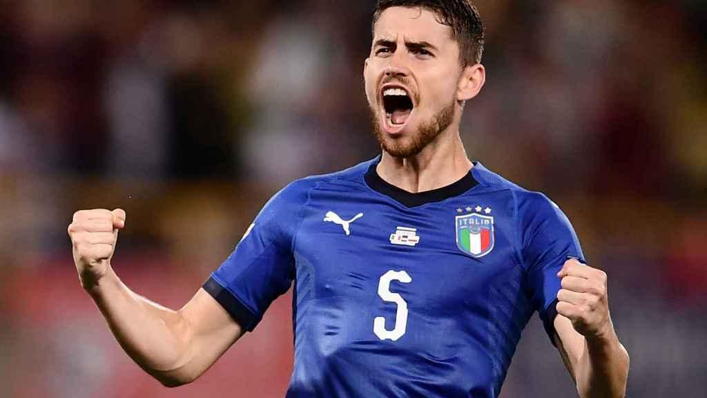 Jorginho celebra un gol con la selección de Italia. Foto: figc.it