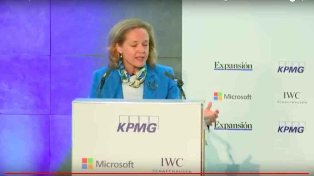 Nadia Calviño, ministra de Economía, durante el IX Encuentro Financiero.