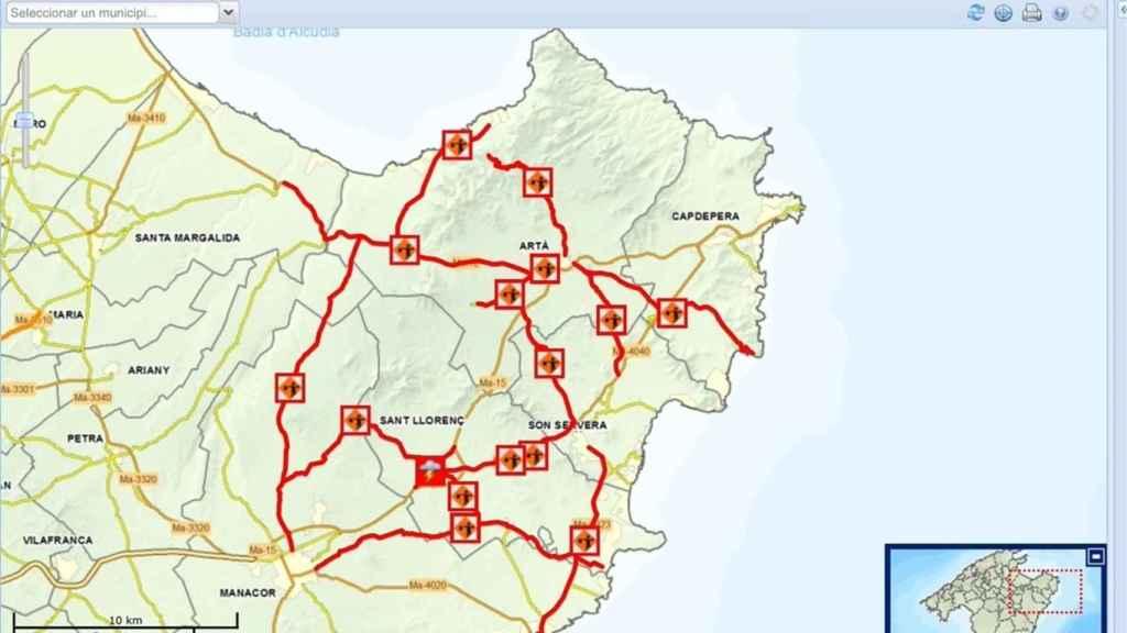 Carreteras cortadas en el Levante de Mallorca.