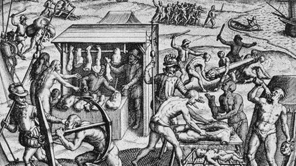 Grabado de las supuestas masacres de los españoles durante la conquista de América.