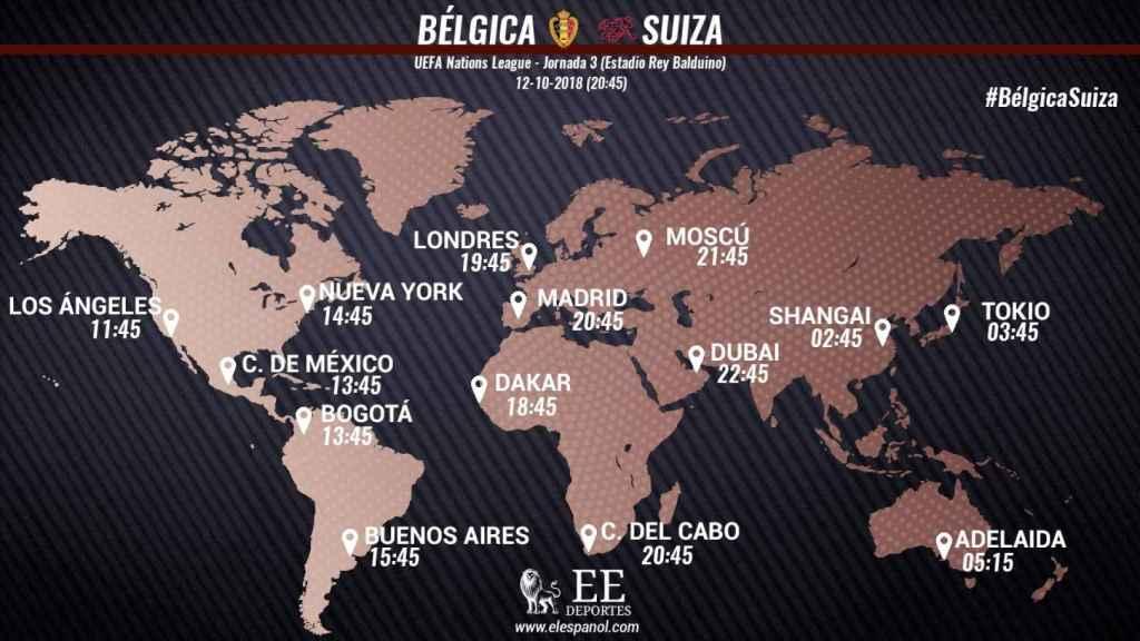 Horario del Bélgica - Suiza