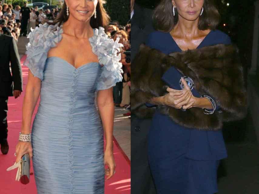 Isabel Preysler con dos opciones de vestido de cóctel azul.