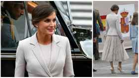 La reina Letizia a la llegada al desfile.