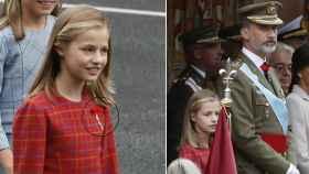 Leonor con el Toisón de Oro y junto a su padre en la tribuna real.