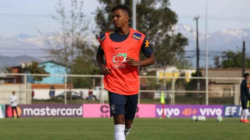 Rodrygo, en un entrenamiento de Brasil sub20. Foto: cbf.com.br