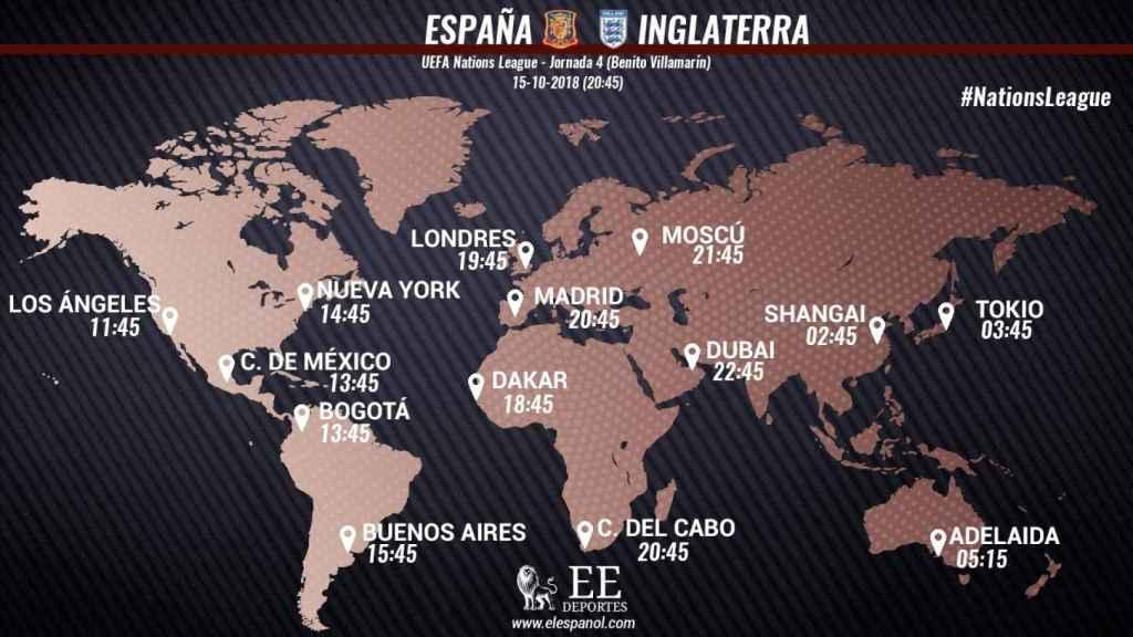 Horario internacional España - Inglaterra