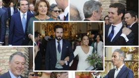 Los recién casados y algunos invitados en montaje JALEOS.