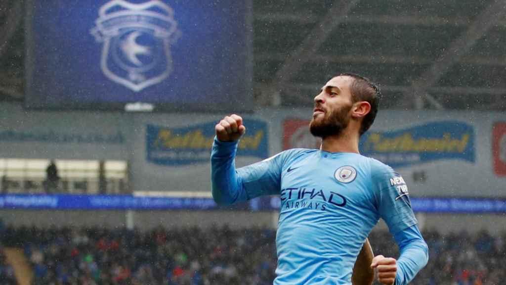 Bernardo Silva celebra un gol con el Manchester City