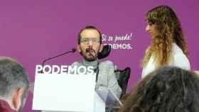 Pablo Echenique y Noelia Vera, durante la rueda de prensa posterior al Consejo de Coordinación de Podemos.