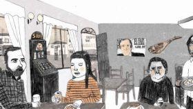 Ana Penyas y una de las páginas de 'Estamos todas bien'.