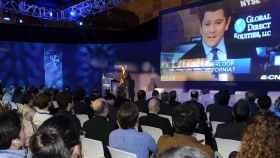 Dirk Ahlborn, CEO de HyperloopTT, durante la inauguración del S-Moving en Málaga.