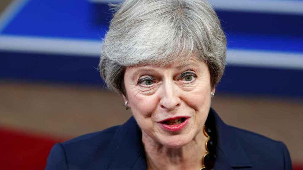 La primera ministra Theresa May, a su llegada a la cumbre del 'brexit'