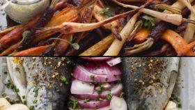 Verduras a la brasa vs trucha al horno.