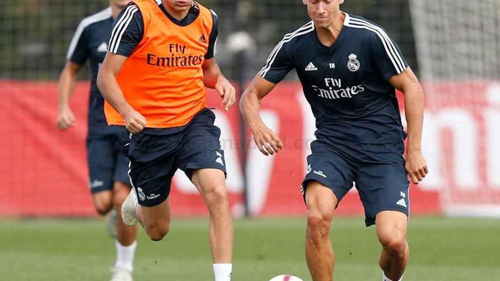 Marcos Llorente, durante el entrenamiento del Real Madrid