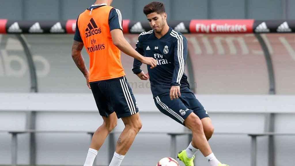 Marco Asensio, durante el entrenamiento del Real Madrid