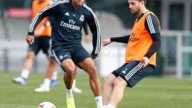 Nacho y Mariano, durante el entrenamiento del Real Madrid