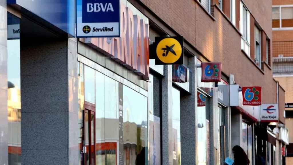 Oficinas bancarias en Cataluña en una imagen de archivo.