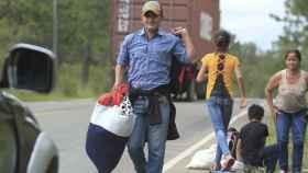 Uno de los migrantes de la caravana hondureña.