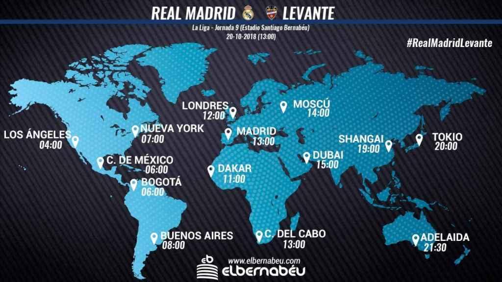 Horario internacional Real Madrid - Levante