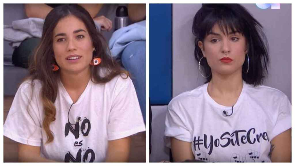 Julia Medina (izda) luciendo la camiseta de 'No es No'; Natalia Lacunza (dcha) con la versión 'Yo sí te creo'.