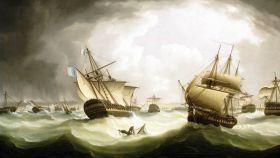 Pintura del inglés Thomas Buttersworth sobre la batalla de Trafalgar