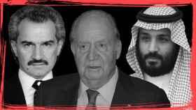 De izquierda a derecha, el príncipe saudí Al Waleed bin Talal bin Abdulaziz al Saud, quien estuvo acusado de violación; el rey emérito Juan Carlos I, y el heredero al trono de Arabia Saudí y actual ministro de Defensa, Mohamed bin Salman.
