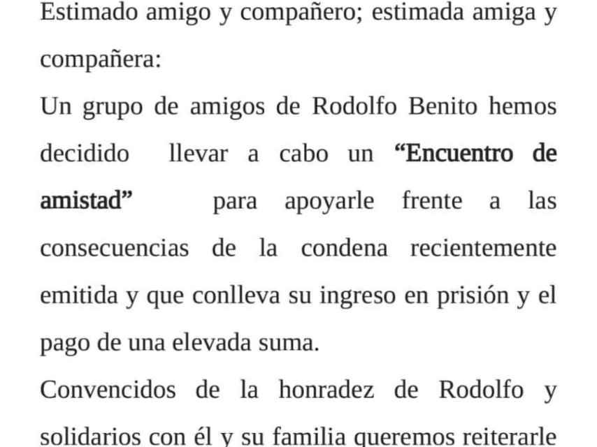 Convocatoria para homenajear a Rodolfo Benito.