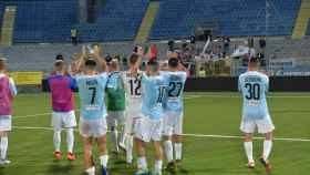 Los jugadores del Virtus Entella celebran la victoria después del primer partido de la temporada. Foto: entella.it