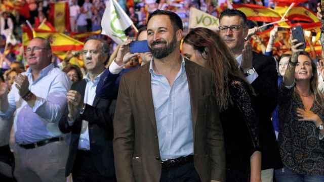 Santiago Abascal, en el acto de Vox celebrado en el palacio Vistalegre de Madrid.