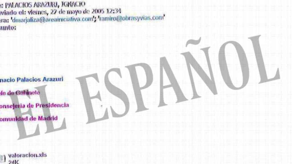 Uno de los correos entre David Marjaliza e Ignacio Palacios.