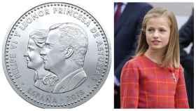 La moneda junto a Leonor en un montaje de JALEOS.