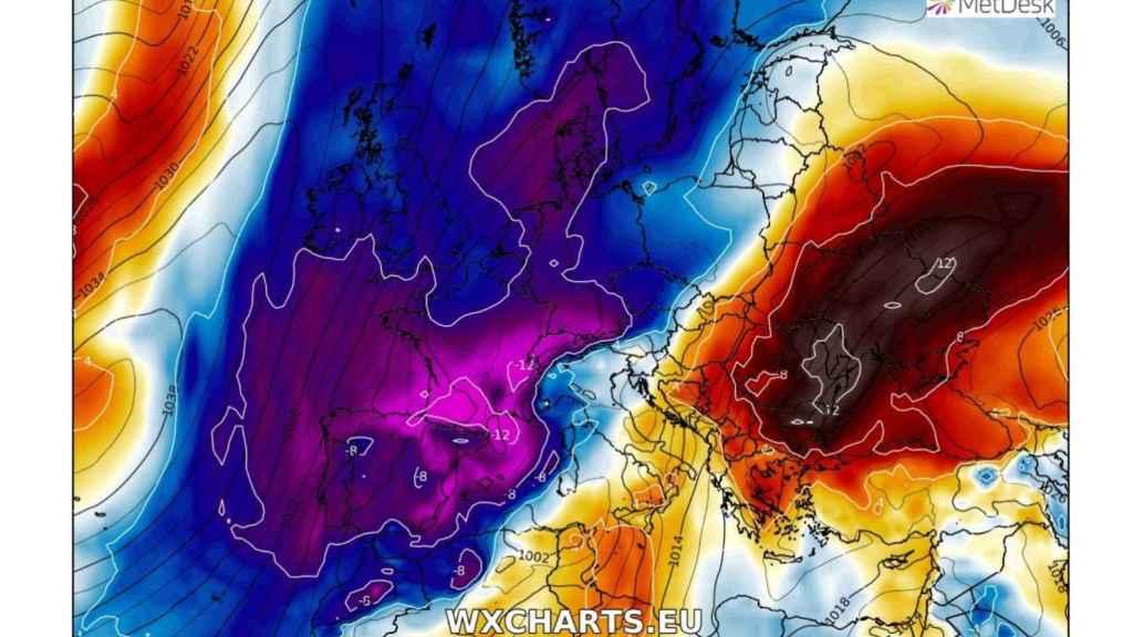 El mapa del desplome de las temperaturas en Europa occidental el domingo 28.