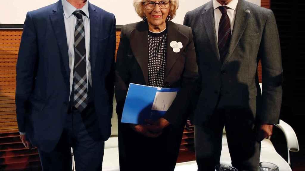 José Guirao, Manuela Carmena y Ángel Garrido durante la presentación de la candidatura.