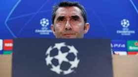 Ernesto Valverde, en rueda de prensa previa de un partido del Barcelona en Champions