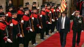 Carles Puigdemont, en su toma de posesión de enero de 2016.