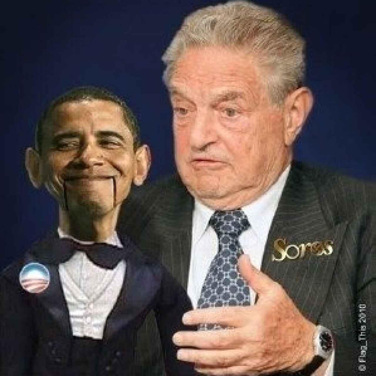 Meme que caricaturiza a Obama como una marioneta de Soros.